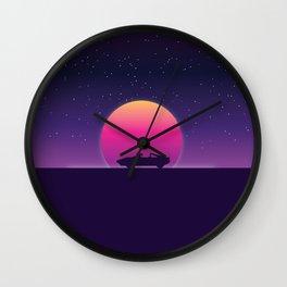80s Retro Sunset Car Wall Clock