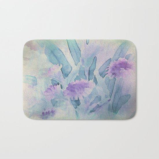 Heavenly Lavender Water Color Floral Bath Mat