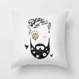 Make Beards not War (typo edition) Throw Pillow