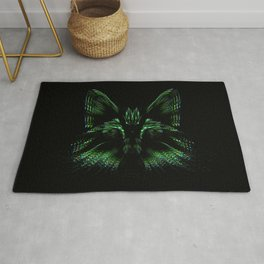 Space cat. cat's head flies out of space in the color spectrum. Rug