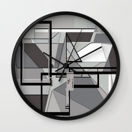 Gray Geometry Wall Clock