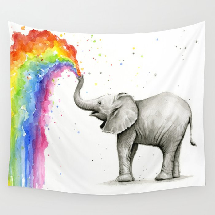 Baby Elephant Spraying Rainbow Whimsical Animals Wall Tapestry