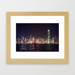 Hong Kong Night Skyline Framed Art Print