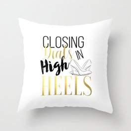 Closing Deals In High Heels,Fashion Print Throw Pillow