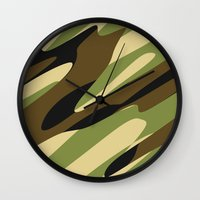camo Wall Clocks featuring Camo by SShaw Photographic