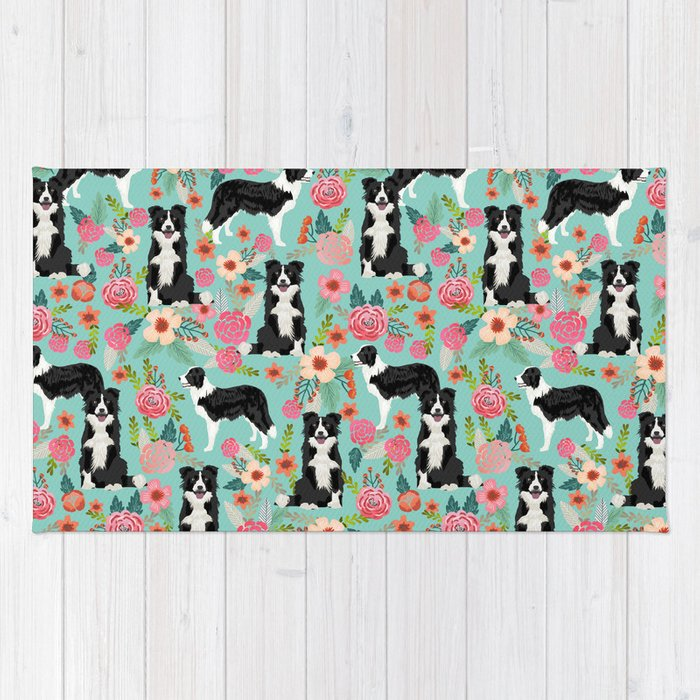 Border Collie Cute Fls Mint Pink Black And White Dog Gifts For Lover Rug