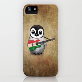 Baby Penguin Playing Hungarian Flag Acoustic Guitar iPhone Case