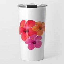 Red Orange Pink Hibiscus Travel Mug