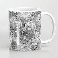 malachite Mugs featuring Malachite black and white by ravynka