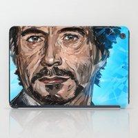 robert downey jr iPad Cases featuring RD JR by Balazs Pakozdi
