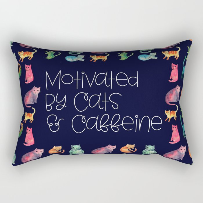 Motivated by Cats and Caffeine Rectangular Pillow