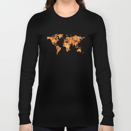 World Map in Orange Desert Sand Long Sleeve T-shirt