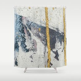 Synergy: a minimal, abstract mixed-media piece in gold, blue, and purple by Alyssa Hamilton Art Shower Curtain