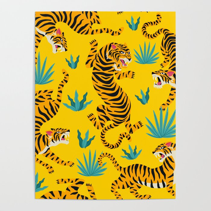 Yellow Tiger Tropical Pattern Poster