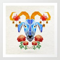 chinese Art Prints featuring chinese goat by Manoou