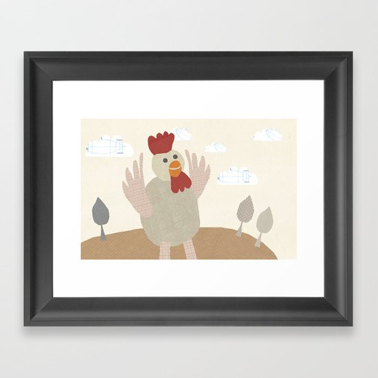 rooster collage Framed Art Print