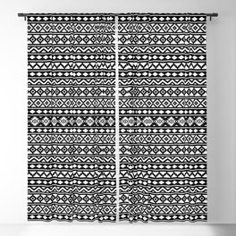 Aztec Essence Pattern II White on Black Blackout Curtain