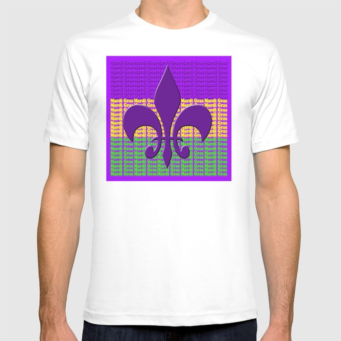 f8f0d4b6 Mardi Gras tri color with Fleur de lis T-shirt by beckybetancourt