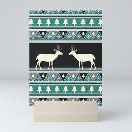 Christmas pattern with deer Mini Art Print