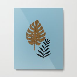 Gold Monstera and Black Palm Lesves Metal Print