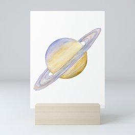 Planet Saturn Watercolor Painting Mini Art Print