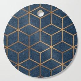 Dark Blue and Gold - Geometric Textured Cube Design Cutting Board