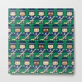 Super cute sports stars - Ice Hockey Green and Blue Metal Print