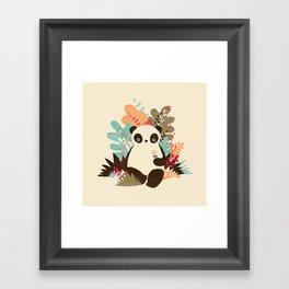 Flower Panda Framed Art Print