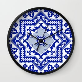 Floral hand-painted Portuguese tile Wall Clock