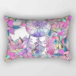 Colorful magenta teal watercolor dream catcher floral Rectangular Pillow