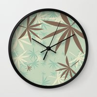 1d Wall Clocks featuring Leaves 1D by Patterns of Life