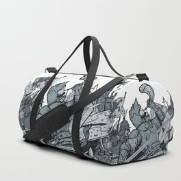 Saturday Knight Special STEEL BLUE / Vintage illustration redrawn and repurposed Duffle Bag