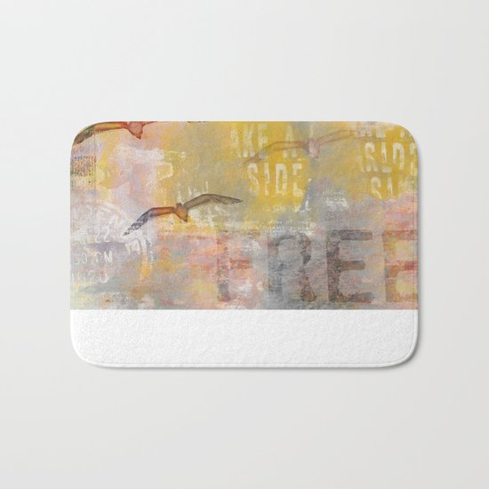Free bird mixed media artwork Sea Gulls and Typography Bath Mat