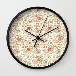 Pink Floral Medley Wall Clock