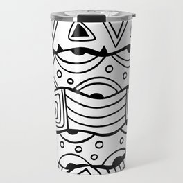 Wavy Tribal Lines with Shapes - Doodle Drawing Travel Mug