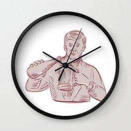 Man Pouring Beer Mug Etching Wall Clock