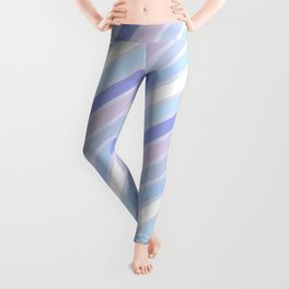 Retro Diagonal Stripes in Pastel Periwinkle Leggings