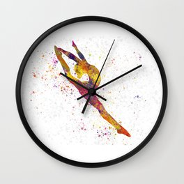 Rhythmic gymnastics competition in watercolor 03 Wall Clock