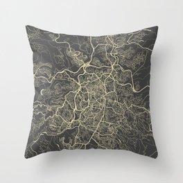 Jerusalem Map yellow Throw Pillow