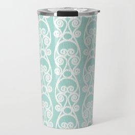 Crackled Scrolled Ikat Pattern - Blue White Travel Mug