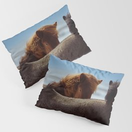 TWO BROWN HORSES IN MACRO SHOT PHOTOGRAPHY Pillow Sham