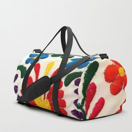 Red Mexican Flower Duffle Bag