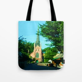 Digital Painting of the Trinity Eposcipal Church in Abbeville Tote Bag
