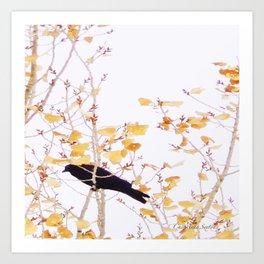 Holidaze Golden Crow high in golden leaves Art Print