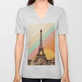 Rainbow Sky Above The Eiffel Tower Unisex V-Neck