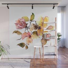Fall leaves. Watercolor flowers. Vintage florals. Wall Mural