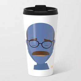 A Man in Blue Metal Travel Mug