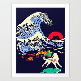 The Great Wave off Oni Island Art Print