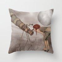 valentina Throw Pillows featuring valentina e l'improbabile telescopio by Mesailes by Germana Picchioni