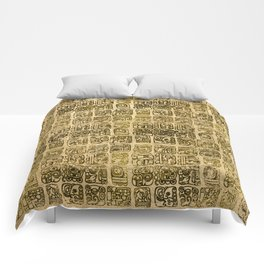 Mayan and aztec glyphs gold on vintage texture Comforters